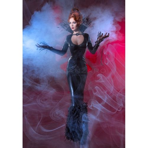 Wetlook Evening Dress with Feathers