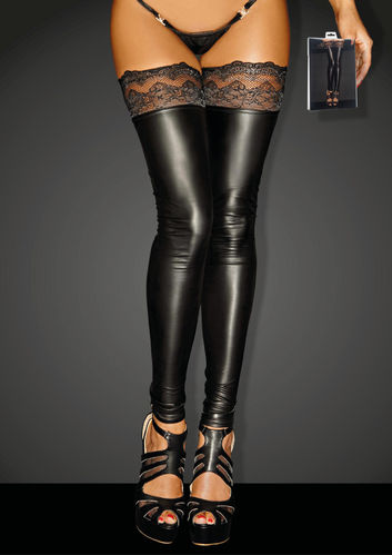 Wetlook Stockings mit Spitze
