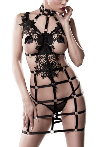 Rubber Harness combined with Crochet Lace